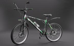 Картинка велосипед, зеленый, черный, спорт, покрышки, колеса, серый фон, стелс, спортивный, наклейки, stels