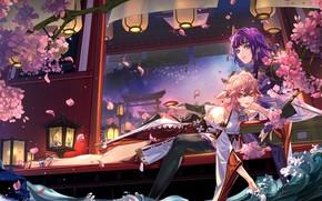 Картинка вода, ночь, дом, девушки, цветение, тории, Genshin Impact, Raiden Shogun, Yae Miko, by Dith Ytk