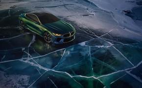 Картинка снег, купе, лёд, BMW, 2018, M8 Gran Coupe Concept
