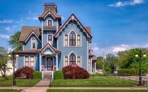 Картинка деревья, дом, улица, фонари, архитектура, Иллинойс, Illinois, кусты, Springfield, Спрингфилд