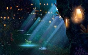 Картинка фэнтези, подводный город, стая рыбок