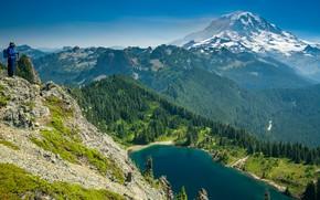 Картинка деревья, горы, озеро, человек