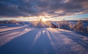 Картинка небо, солнце, облака, снег, Норвегия, winter is coming