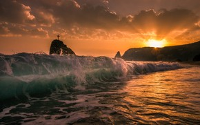 Картинка sea, sunset, wave