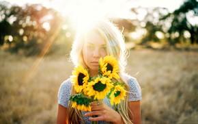 Картинка лучи, свет, цветы, подсолнух, блондинка