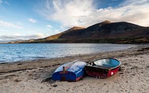 Картинка песок, горы, берег, лодки, водоем