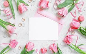 Картинка Цветы, тюльпаны, розовые, конверт