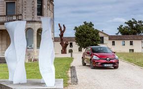 Картинка авто, красный, здание, Renault, Clio