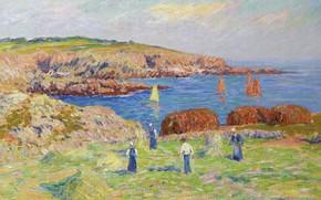 Картинка пейзаж, картина, Анри Море, Henry Moret, Hay Stacking at the Port of Doelan