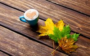Картинка листья, сердце, colorful, heart, wood, autumn, leaves, cup, romantic, coffee, чашка кофе