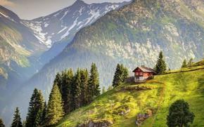 Картинка House, Nature, Landscape, Switzerland, Mountains, Alps
