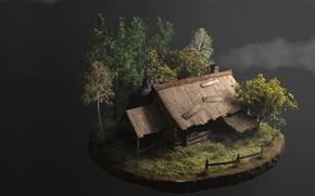 Картинка осень, арт, домик, Tomasz Mariański, Old Hut 2.0