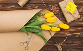 Картинка цветы, желтые, тюльпаны, yellow, wood, flowers, tulips, spring, paper, gift box