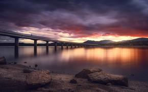 Картинка закат, мост, Madrid, Colmenarejo