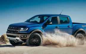 Картинка песок, Ford, Raptor, пикап, Ranger, 2019