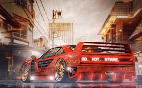 Картинка Авто, Машина, Стиль, City, Ferrari, Tokyo, Japan, Red, Art, Neon, Concept Art, Science Fiction, Cyberpunk, ...