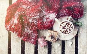 Картинка зима, снег, горячий, шоколад, шарф, wood, декор, marshmallows, Valeria Aksakova