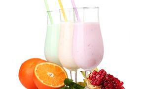 Картинка апельсин, зерна, молоко, коктейль, гранат