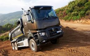 Картинка растительность, тент, Renault, кузов, подъём, грунтовка, самосвал, трёхосный, Renault Trucks, K-series