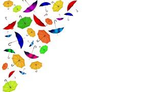 Картинка зонтики, белый фон, открытка, шаблон, заготовка