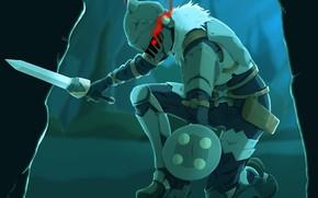 Картинка воин, шлем, рыцарь, стойка, Goblin Slayer, Убийца гоблинов