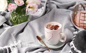 Картинка кофе, шоколад, букет, чашка, плед