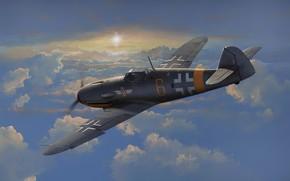 Картинка art, airplane, aviation, bf-109, ww2
