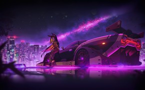Картинка Авто, Ночь, Музыка, Город, Машина, Neon, Illustration, Cyberpunk, Synth, Retrowave, Synthwave, New Retro Wave, Futuresynth, …
