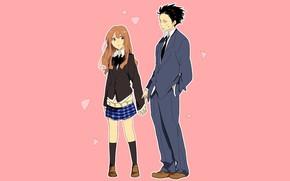 Картинка девушка, парень, двое, розовый фон, Koe no Katachi, Форма голоса