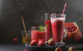Картинка клубника, сок, фрукты, фреш, гранат