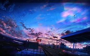Картинка город, поезда, сумерки, железнодорожная станция