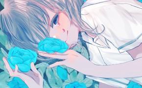 Картинка лицо, розы, девочка