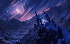 Обои холод, небо, кристалл, облака, снег, горы, ночь, луна, фэнтези, арт