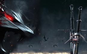 Картинка Мечи, The Witcher 3 Wild Hunt, Ведьмак 3 Дикая Охота, Swords, Волчий медальон