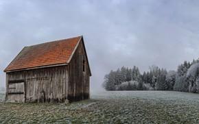 Картинка иней, поле, дом