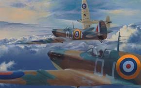 Картинка art, airplane, aviation, ww2, Spititfire