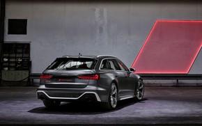 Картинка Audi, универсал, RS 6, кормой, 2020, 2019, тёмно-серый, V8 Twin-Turbo, RS6 Avant