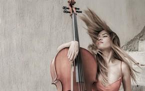 Картинка девушка, музыка, виолончель