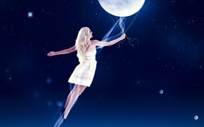 Картинка небо, ночь, луна, рисунки, левушка