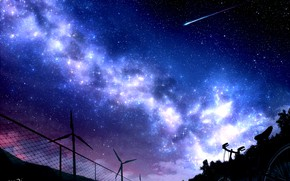 Картинка небо, ночь, велосипед, забор, ветряки, млечный путь