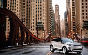 Картинка авто, мост, город, небоскребы, Land Rover, Evoque, кроссовер, P300