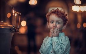 Картинка эмоции, свечи, мальчик, рыжий, кудри, ребёнок, рыжик, боке
