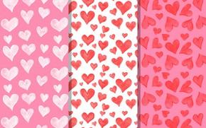 Картинка белый, фон, розовый, текстура, сердечки