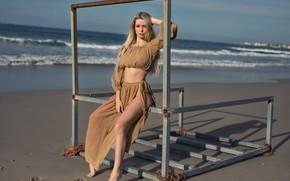 Картинка waves, beach, sky, long hair, hot girl, clouds, outside, footprints, posing, beautiful face, outdoors, rusty, …