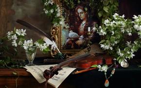 Картинка ветки, ноты, перо, скрипка, бокал, портрет, картина, жасмин, Андрей Морозов