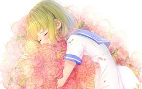 Картинка девушка, спит, школьная форма, пионы, by lluluchwan