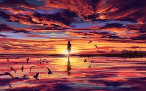 Картинка море, девушка, закат, птицы