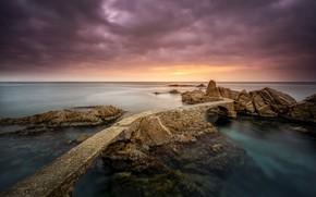 Картинка море, мост, скалы