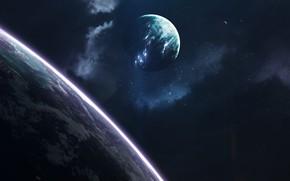Картинка Звезды, Планета, Космос, Туманность, Планеты, Planets, Арт, Stars, Space, Art, Спутник, Planet, Universe, Galaxy, Фантастика, …