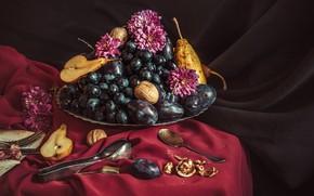 Картинка виноград, ваза, фрукты, орехи, натюрморт, скатерть